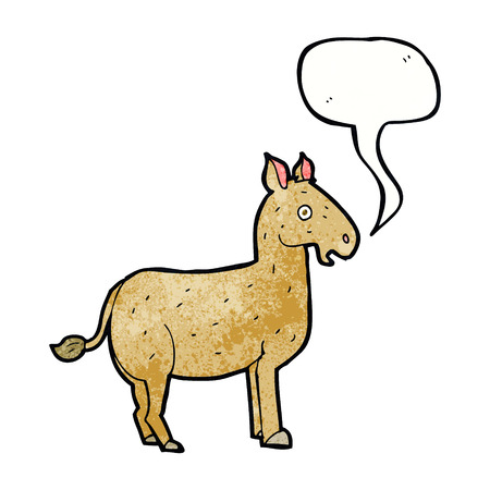 mule: cartoon mule with speech bubble Illustration