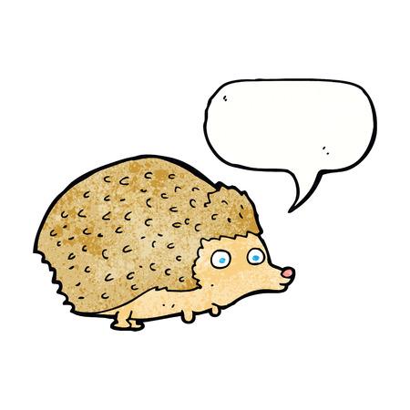 cartoon hedgehog: cartoon hedgehog with speech bubble