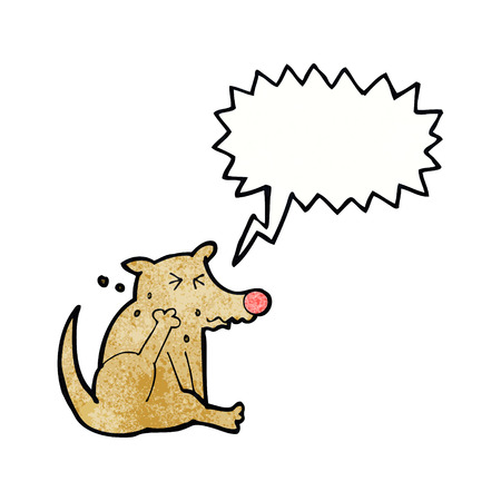 and scratching: cartoon dog scratching with speech bubble Illustration