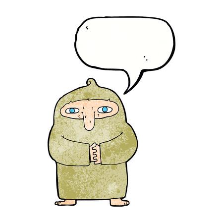 monk robe: cartoon monk in robe with speech bubble Illustration