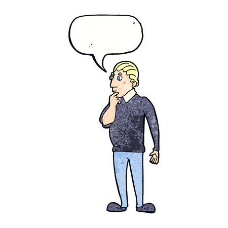 catoon: catoon curious man with speech bubble