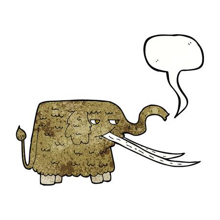 woolly: cartoon woolly mammoth with speech bubble