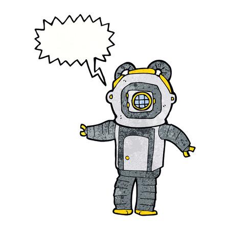 deep: cartoon deep sea diver  with speech bubble Illustration