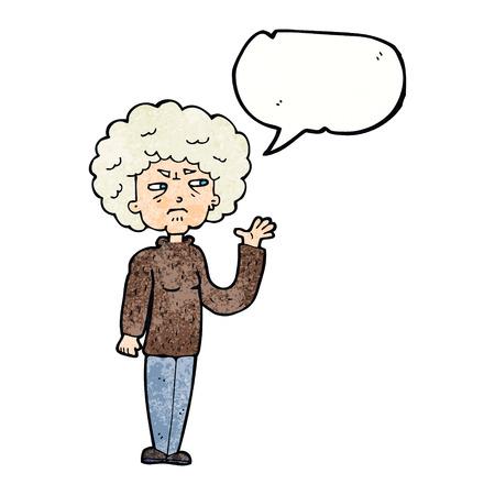 alte frau: Cartoon �rgerte alte Frau winkte mit Sprechblase