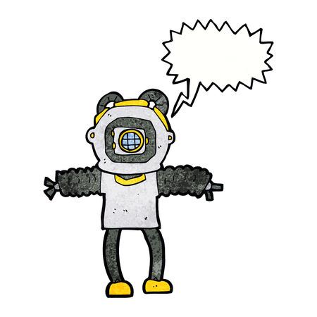 deep sea: cartoon deep sea diver with speech bubble
