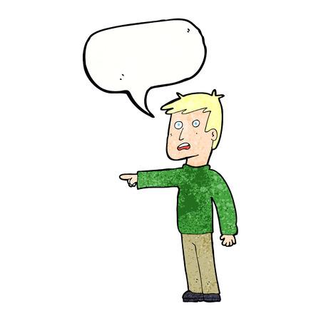 shocked man: cartoon pointing man with speech bubble Illustration