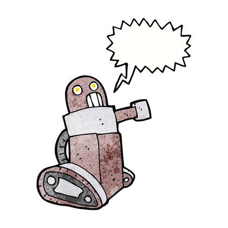talking robot: cartoon tank robot with speech bubble