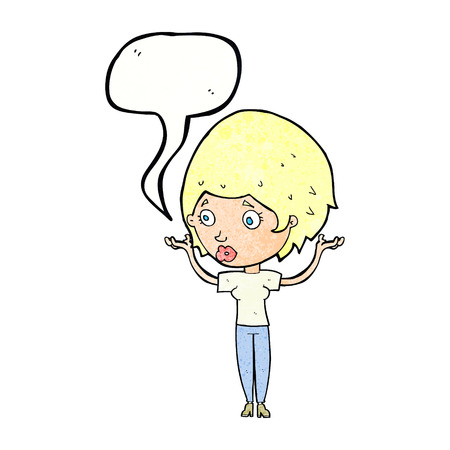 hands in the air: cartoon woman raising hands in air with speech bubble