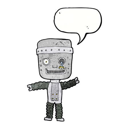 funny robot: cartoon funny robot with speech bubble