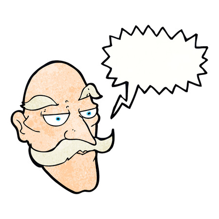 cartoon old man: cartoon old man face with speech bubble Vettoriali