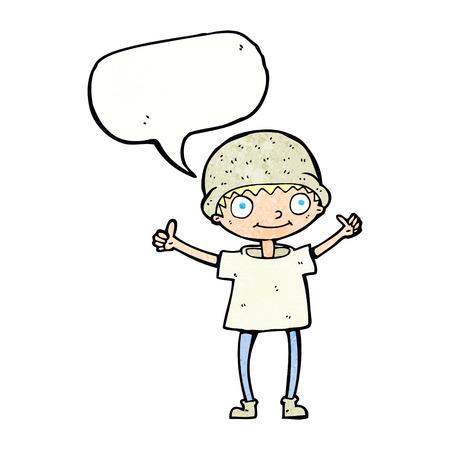 positive attitude: cartoon boy with positive attitude with speech bubble Illustration