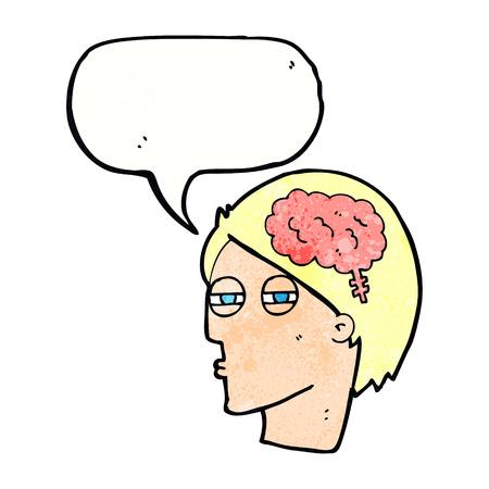 carefully: cartoon man thinking carefully with speech bubble Illustration