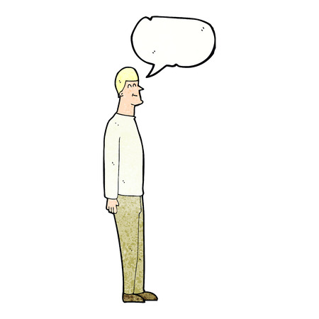 tall man: cartoon tall man with speech bubble
