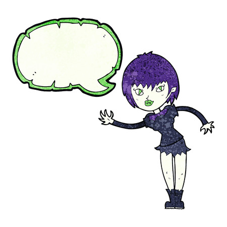 wishing: cartoon vampire girl welcoming with speech bubble Illustration