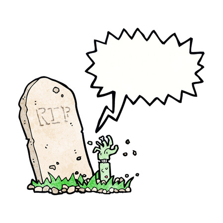 cartoon zombie rising from grave with speech bubble Illustration