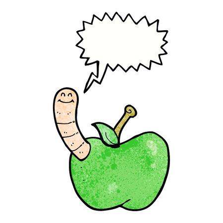 cartoon worm: cartoon apple with worm with speech bubble Illustration