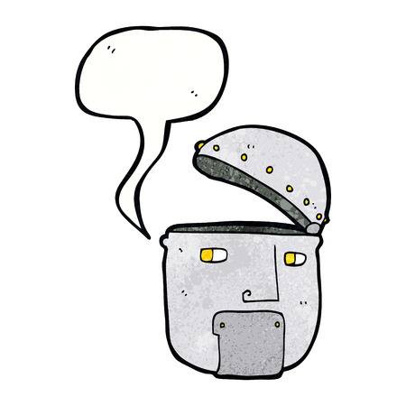robot head: cartoon robot head with speech bubble
