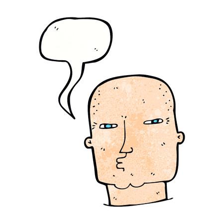 tough: cartoon bald tough guy with speech bubble