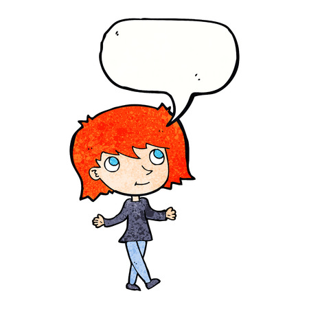 worries: cartoon girl with no worries with speech bubble