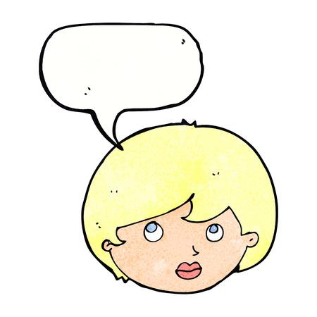 upwards: cartoon female face looking upwards with speech bubble Illustration