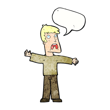 gasp: cartoon frightened man with speech bubble Illustration