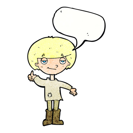 cartoon boy in poor clothing giving thumbs up symbol with speech bubble Illustration