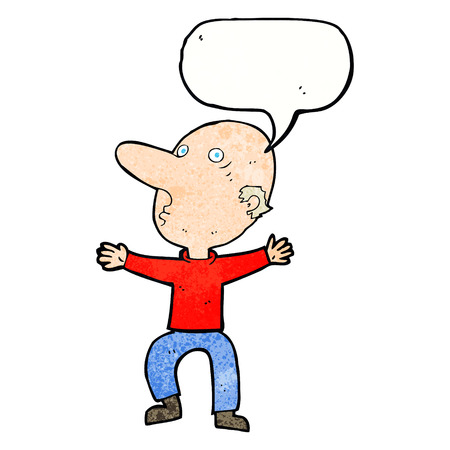 middle aged man: cartoon worried middle aged man with speech bubble