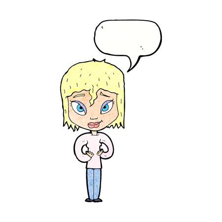 satisfied: cartoon satisfied woman with speech bubble