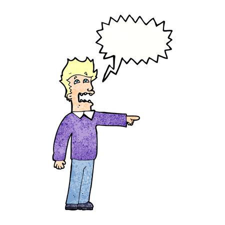 accusing: cartoon man accusing with speech bubble Illustration