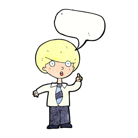 answering: cartoon school boy answering question with speech bubble Illustration