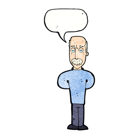 balding: cartoon annoyed balding man with speech bubble