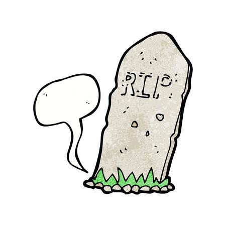spook: cartoon spooky grave with speech bubble Illustration