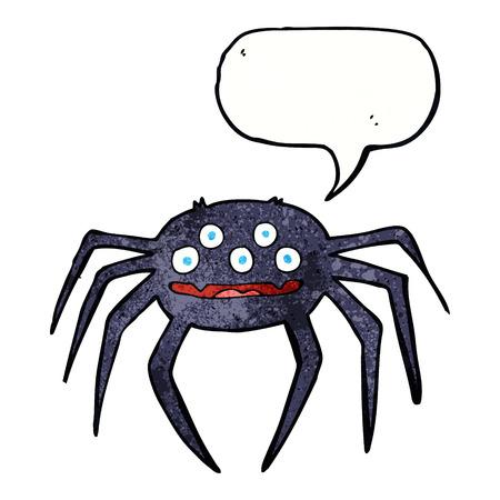 halloween spider: cartoon halloween spider with speech bubble