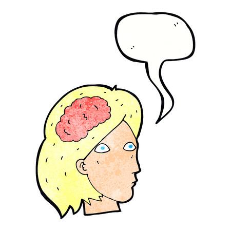 cabeza femenina: cabeza femenina de dibujos animados con el s�mbolo de cerebro con bocadillo