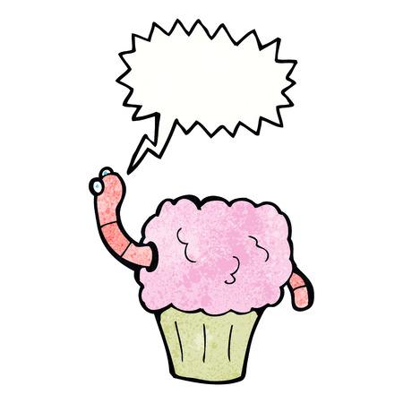 gusano caricatura: gusano de dibujos animados en la magdalena con bocadillo Vectores