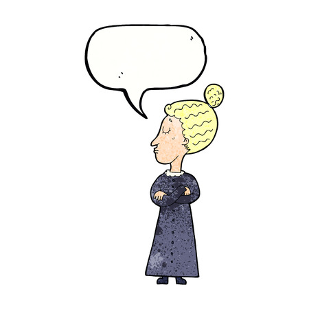 strict: cartoon strict victorian teacher with speech bubble