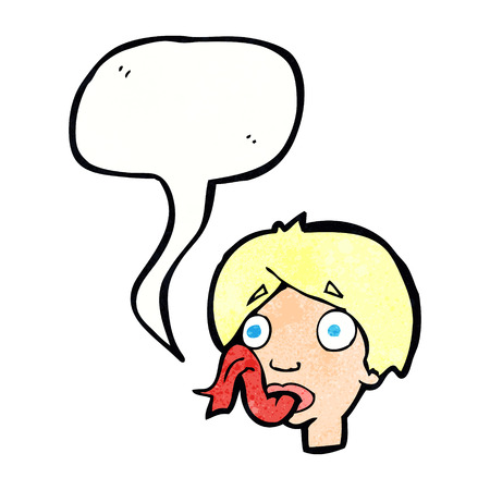 forked tongue: cartoon head sticking out tongue with speech bubble