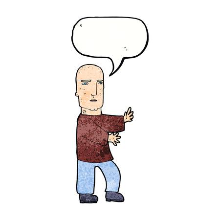tough man: cartoon tough man  with speech bubble