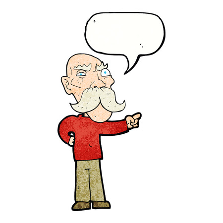 dessin animé ennuyé vieil homme pointant avec bulle