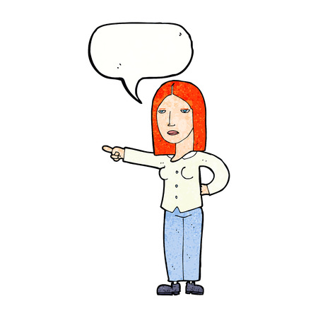 commanding: cartoon woman pointing with speech bubble