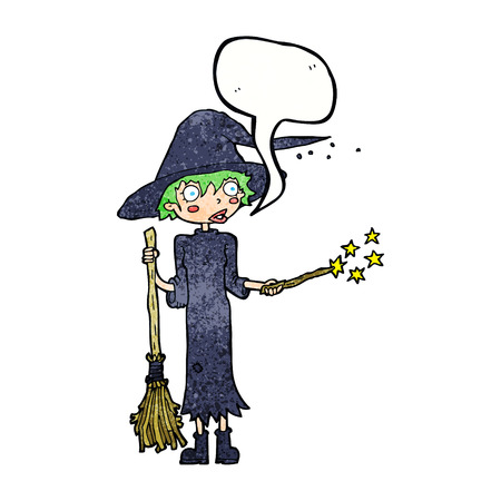 spell: cartoon witch casting spell with speech bubble
