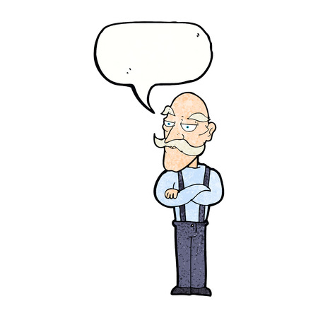 folded arms: cartoon bored old man with speech bubble