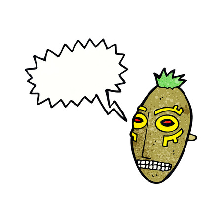 cannibal: cartoon tribal mask with speech bubble
