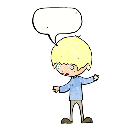 outstretched: cartoon boy with outstretched arms with speech bubble Illustration