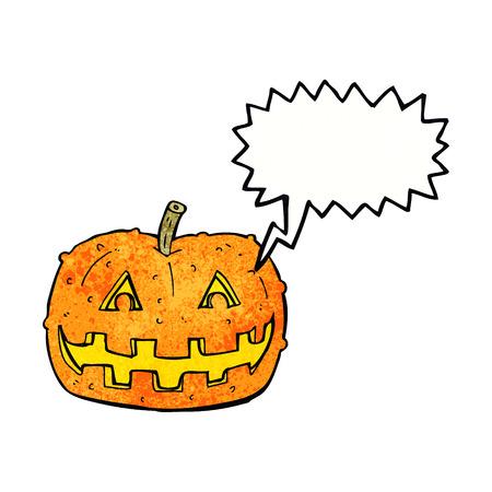 spook: cartoon pumpkin with speech bubble Illustration