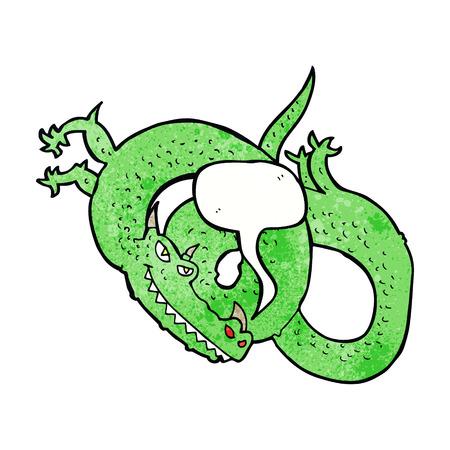 cartoon dragon: cartoon dragon with speech bubble Illustration