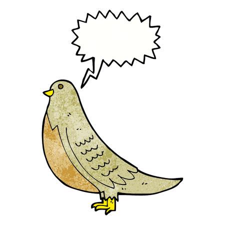 in common: cartoon common bird with speech bubble