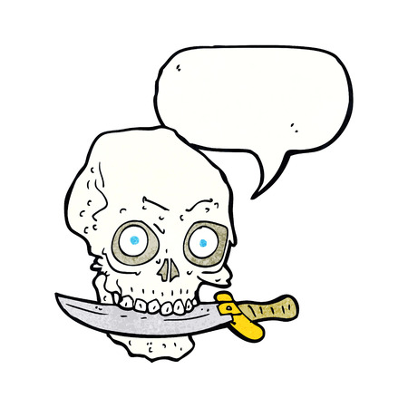 smilling: cartoon pirate skull with knife in teeth with speech bubble