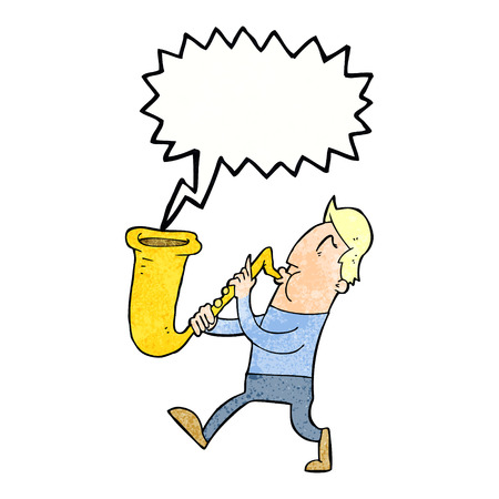 blowing: cartoon man blowing saxophone with speech bubble
