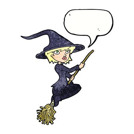 broomstick: cartoon witch riding broomstick with speech bubble